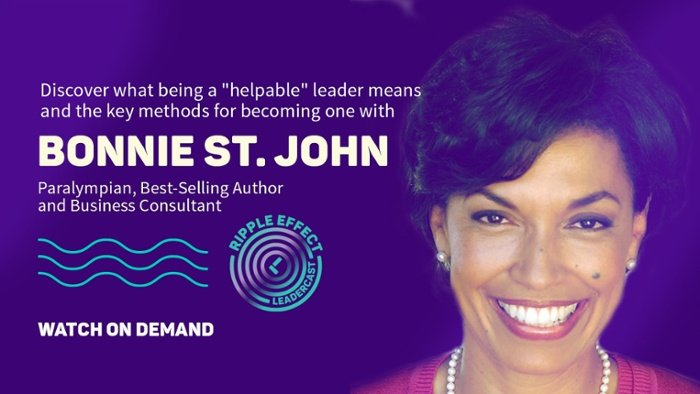 """discover what being a """"helpable"""" leader means and the key methods to becoming one with Bonnie St. John. Paralympian best-selling author, and business consultant"""