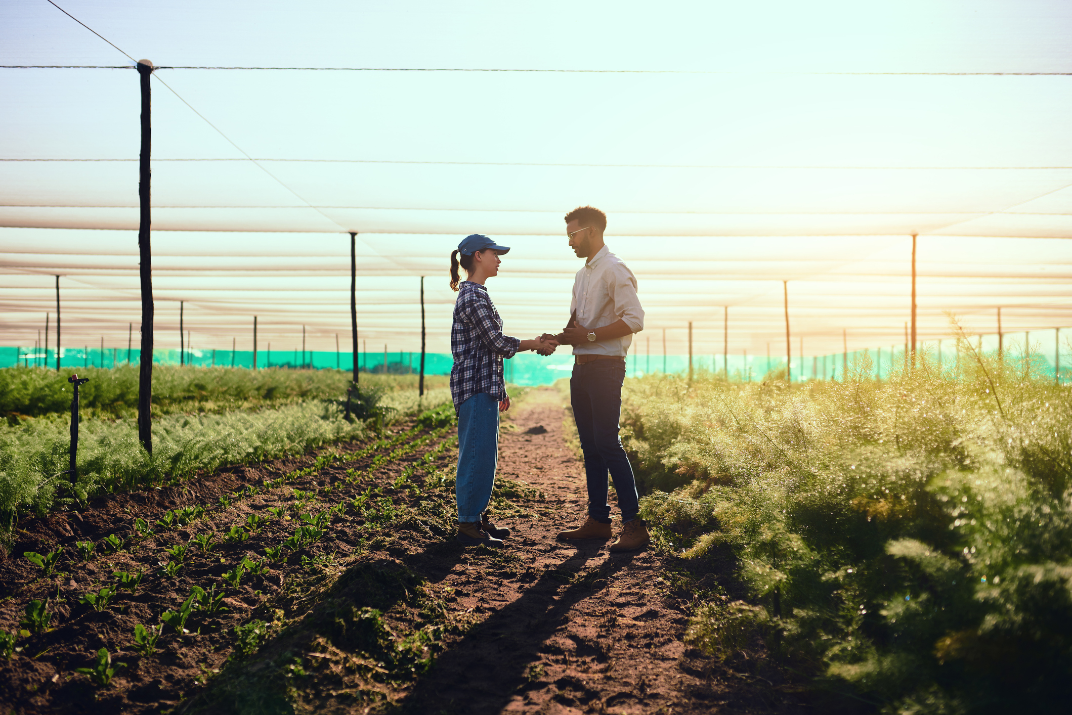 Full length shot of two young farmers shaking hands while working on their farm