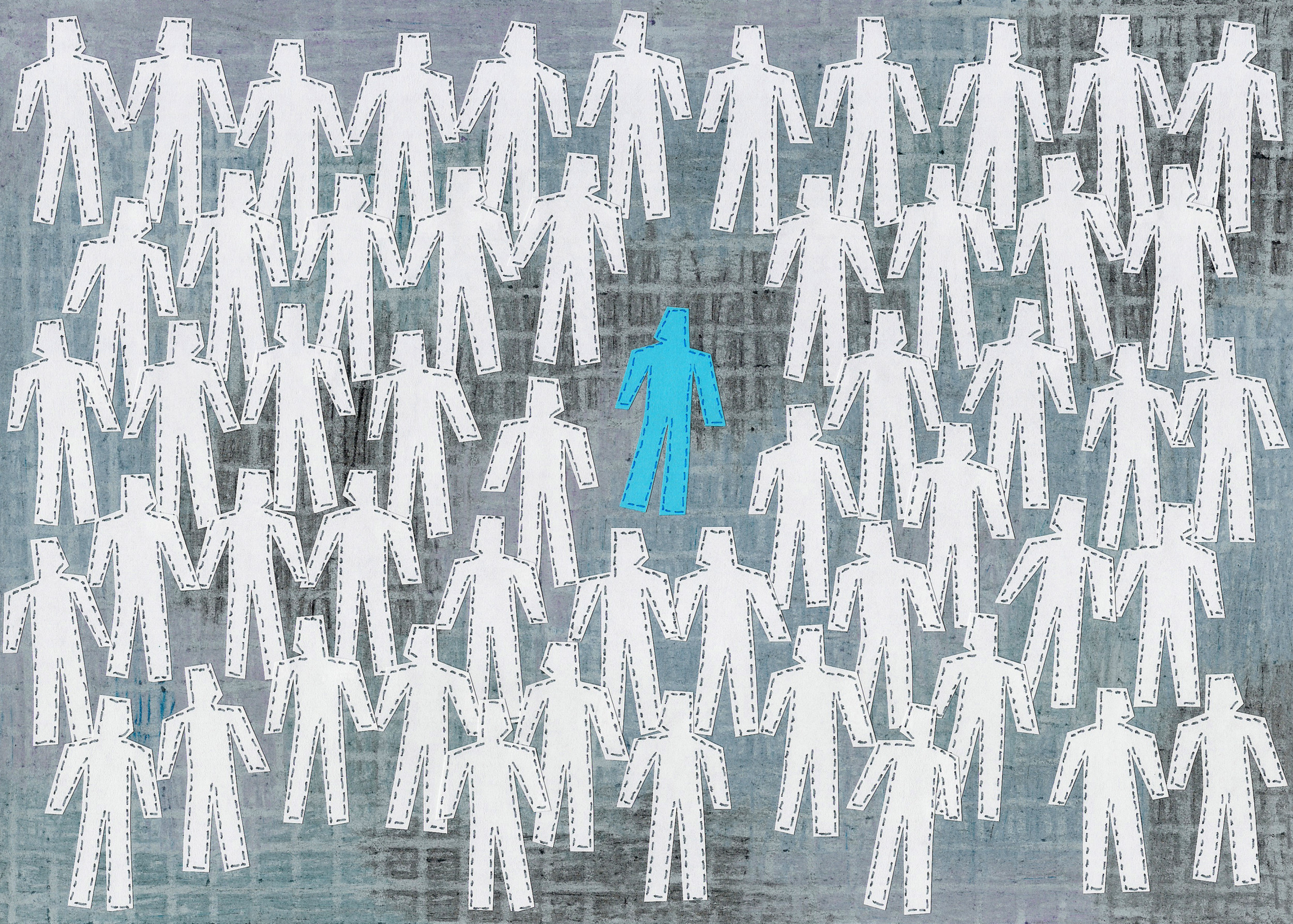Paper collage of lots of human silhouettes and only one blue in the middle