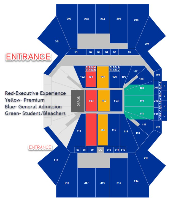 Map of seating for cincinnati venue. Red executive seats are closest to the stage, then yellow premium, blue general admission and green bleachers