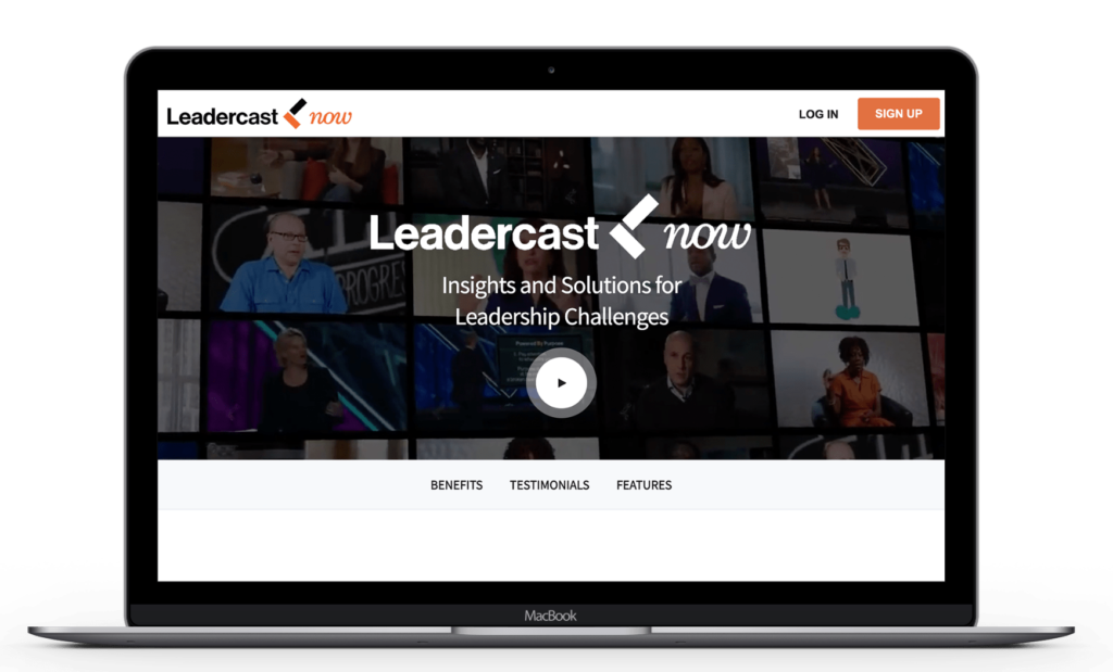 Laptop with Leadercast Now site on the screen